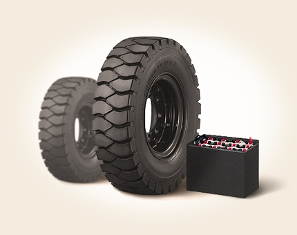 Traction batteries and tyres for forklifts